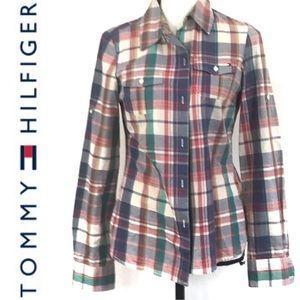 Tommy Hilfiger Plaid Floral Trim Button Up Top